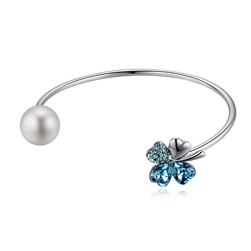 ZSML Swarovski Elements Crystal Bangles, Four-Leaf Pearl Combination Design Simple Girl Jewelry Bracelets, Inner Diameter 5.5 cm,Seablue