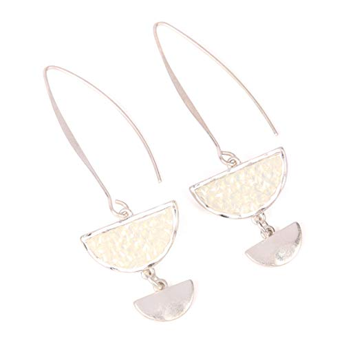 RIAH FASHION Glitter Rhinestone Statement Drop Earrings - Sparkly Crystal Geometric Metal Hook Dangles Vertical Bar, Elongated Teardrop, Shield Disc (Half Moon Threader - White/Matte Silver)