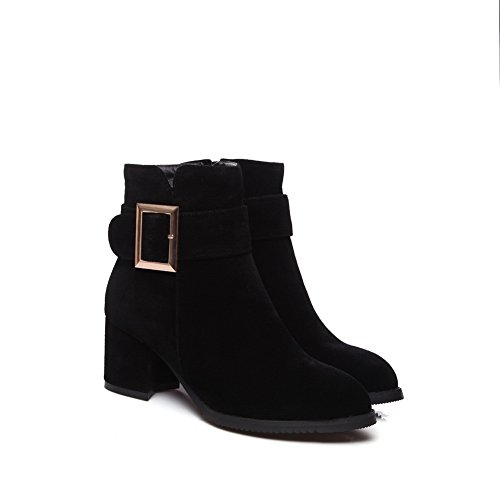 Buckle Boots Suede Black Platform Womens Dress BalaMasa ABL10318 qwnxOZP