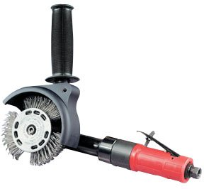 Dynabrade 18255 Autobrade Red DynaZip Wire Wheel Tool with Wire Wheel.4 hp, Right Angle, 3200 rpm, Planetary-Geared, Rear Exhaust