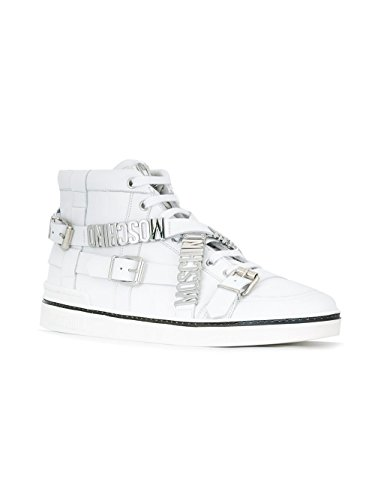MOSCHINO HOMME 563139104 BLANC CUIR BASKETS MONTANTES