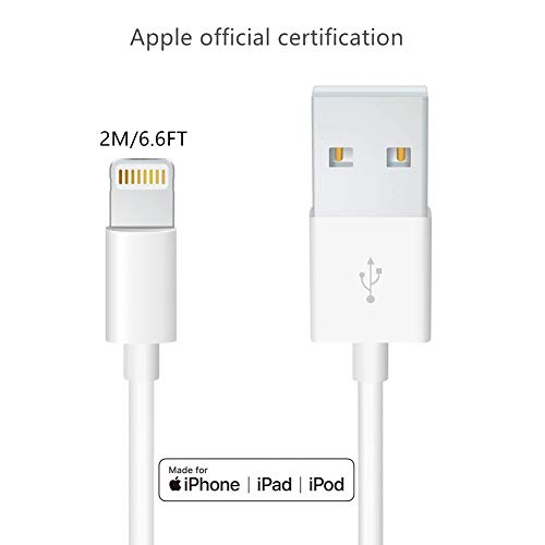 Apple iPhone/iPad Charger Cord Lightning to USB Cable[Apple MFi Certified] Compatible iPhone Xs, Xs Max, XR,X,8,7,6,6 Plus, SE, 5s,5c,5,iPad Mini/Air/Pro Original Certified (2M/6.6FT)