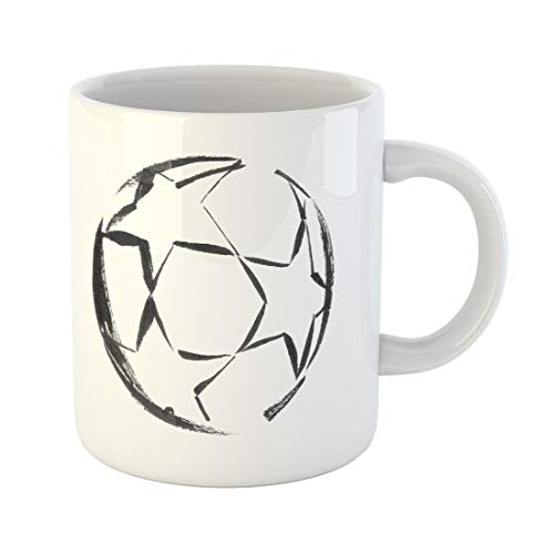 Semtomn Funny Coffee Mug Watercolor Abstract Black Ink Soccer Ball Stars Activity White 11 Oz Ceramic Coffee Mugs Tea Cup Best Gift Or Souvenir
