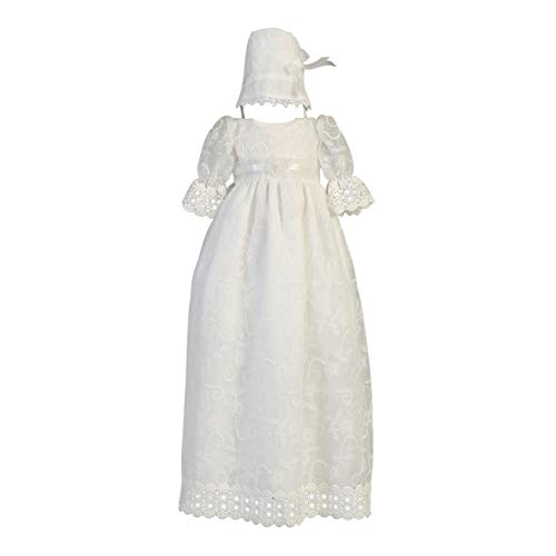 Lito Baby Girls White Embroidered Tulle Long Gown Bonnet Christening Set 0-3M