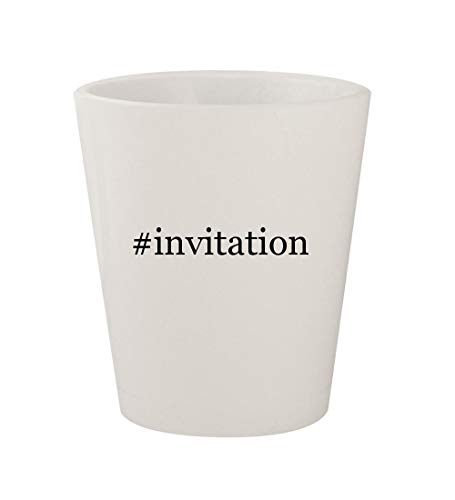 #invitation - Ceramic White Hashtag 1.5oz Shot Glass