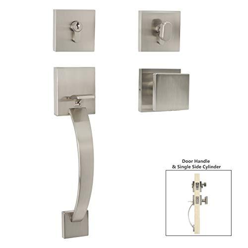 Exterior Front Door Entry Lever Lockset and Double Cylinder Deadbolt Combination Set, Satin Nickel Finish Modern Square Entry Door Knob and Deadbolt Lock Set