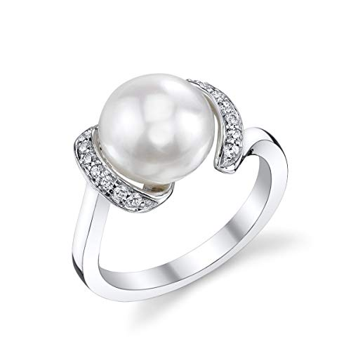 THE PEARL SOURCE 9-10mm Genuine White Freshwater Cultured Pearl Cubic Zirconia Sara Ring for Women