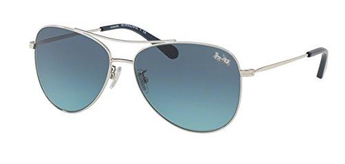 Coach Womens Sunglasses Silver/Blue Metal - Non-Polarized - 58mm