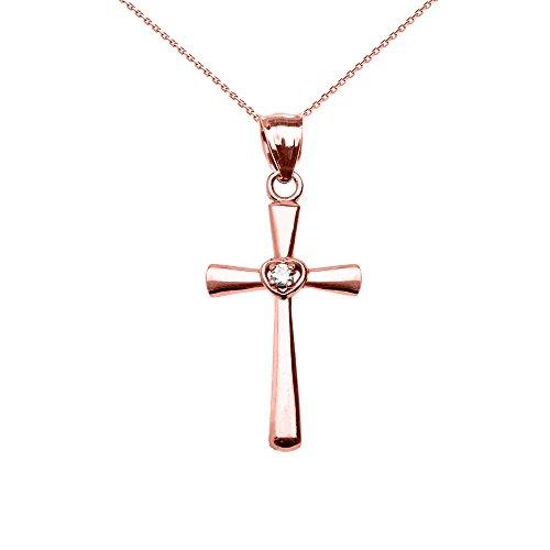 Collier Femme Pendentif 10 Ct Or Rose Solitaire Diamant Cœur Croix (Livré avec une 45cm Chaîne)