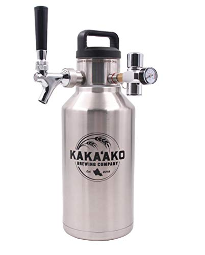 Kakaako Brewing Co - 64 oz Pressurized Growler and Dispenser Tapping System with CO2 Regulator and Faucet with Tap for Fresh Craft Beer, Homebrew, Coffee, Vacuum Insulated (w/Standard Faucet)