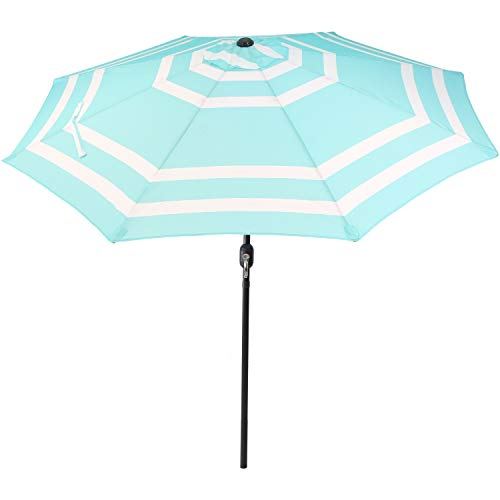 Sunnydaze 9 Foot Outdoor Patio Umbrella with Push Button Tilt Crank, Aluminum, Teal Stripe