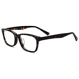 HEPIDEM Acetate Men Vintage Square Optical Glasses Frame Spectacles Eyeglasses (Leopard)