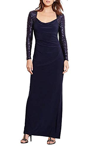 LAUREN RALPH LAUREN Sequin Sleeves Gown (Lighthouse Navy, 2)