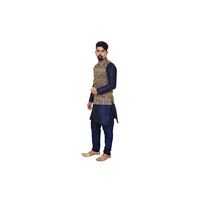 31N8si0vDJL. SS768  - Mag Men's silk Kurta Churidhar With Waistcoat