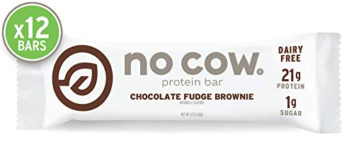 (No Cow Protein Bar, Chocolate Fudge Brownie, 21g Plant Based Protein, Keto Friendly, Low Sugar, Dairy Free, Gluten Free, Vegan, High Fiber, Non-GMO,  12 Count)