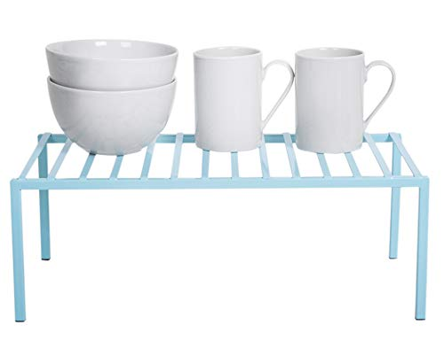 Smart Design Premium Kitchen Storage Shelf w/Plastic Feet - Large - Steel Metal Frame - Rust Resistant Coating - Counter, Pantry, Shelf Organization - Kitchen (16 x 6 Inch) [Light Blue]