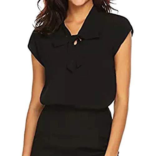Women's Chiffon Blouse,LuluZanm Sale! Ladies Summer Bow Tie Neck Office Work T-Shirt Short Sleeve Casual T-Shirt Black