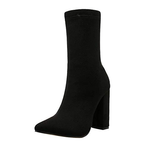 (LIM&Shop ⭐ Pointed Toe Ankle Boots for Women Side Zipper Dress Shoes Faux Suede High Heel Short Socks Western Mid Calf Black)