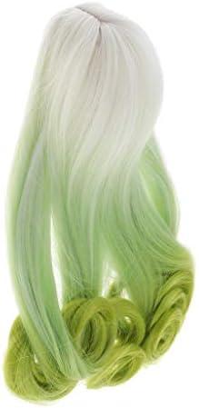 Perfeclan ドールウィッグ 人形かつら ガールズ カーリーヘア 巻き毛 メイキング 修理用 BJDに適用 アクセサリー - ホワイトグリーン1/4