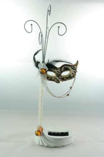 Beautiful Leopard Print Masquerade Mask Jewelry Stand Rings Holder ()