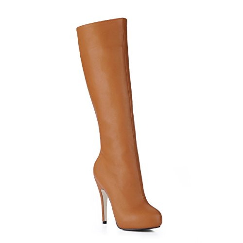 High and boots the reformer new sense of wild round head ladies boot black large high-heel shoes Camel z6caue