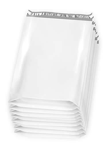 25 Pack Large Poly Mailers 14.5 x 19 x 7 Gusseted Poly Mailer 14 1/2 x 19 x 7. Large Poly Shipping Bags for Clothes. White Shipping envelopes. White Plastic ()