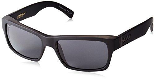 VonZipper Fulton Polar Polarized Rectangular Sunglasses, Black Satin/Grey Poly Polar, 57 - Sunglasses Fulton