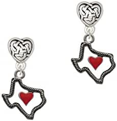 Open Rope Texas with Red Heart Celtic Heart Earrings