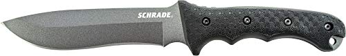 Schrade SCHF9 12.1in High Carbon Steel Fixed Blade Knife with 6.4in Kukri Point Blade and TPE Handle for Outdoor Survival, Camping and Bushcraft (Schrade Schf9 Extreme Survival Knife With Fixed 1095)