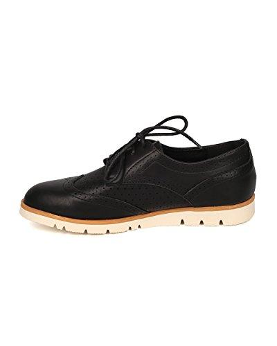 Mocassino Donna Spectator Flat Flat - Sneaker Oxford - Mocassino Con Aletta - Gi09 In Similpelle Nera