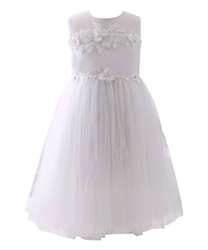 Abaosisters Girls Dress Sleeveless Lace Neckline Frocks White 5-6 yrs Christmas Dresses For Girls Dillards