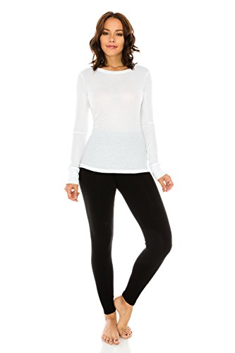 The Classic Woman's Basic Knit Crewneck Loose Fit Long Sleeve Thermal T Shirt Top in White - - White Hottest Women