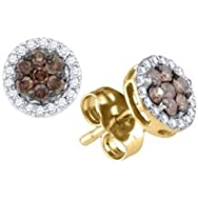 10K Yellow Gold Round Cut Chocolate Brown and White Diamond - Flower Shape Halo Invisible & Channel Set Studs Earrings with Secure Screw Back Closure - (1/4 cttw.)