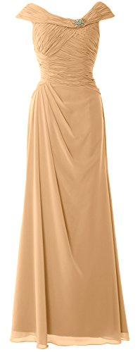MACloth Women Cap Sleeves Boat Neck Formal Gown Long Mother of the Bride Dress Gold