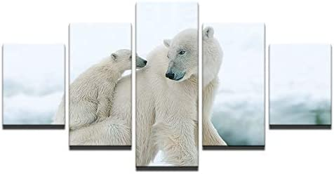 FASH 5 Canvas Paintings 5 Piece Wall Art Painting HD Prints Wall Art Canvas Pictures Home Decoration 5 Pieces Polar Bear and Cub Paintings Animal Poster Living Room No Frame