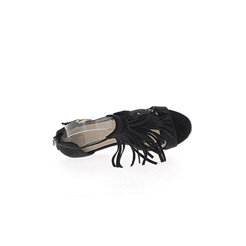 Negro tacón cuña zapatillas 9 cm aspecto del ante con flecos