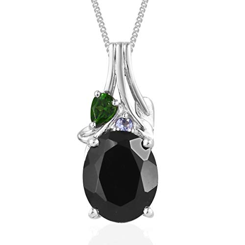 "925 Sterling Silver Platinum Plated Black Spinel Chrome Diopside Gift Pendant Necklace 20"" Cttw 3.9"