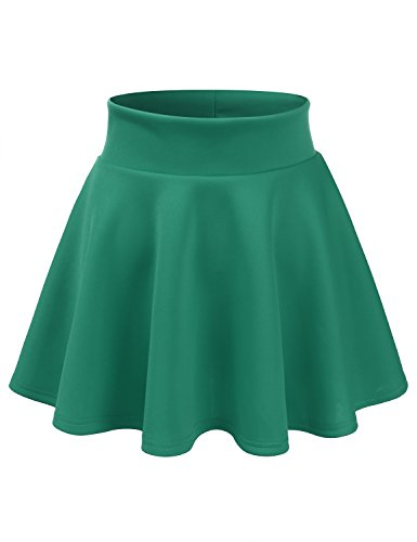 CLOVERY Elastic Waist Flare Pleated Skater Midi Skirt For Women With Plus size Jade 2XL Plus Size
