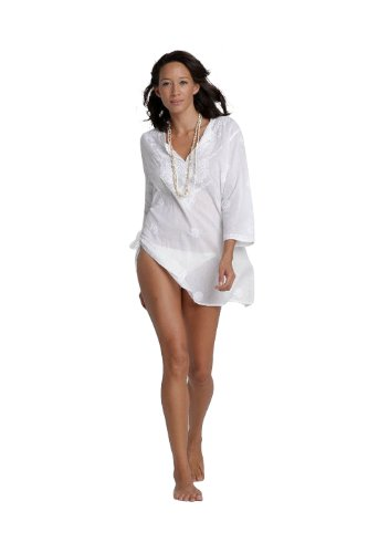 cbbca0f49322 Ladies White Beach Kaftan Cover Up with Hand Embroidery  Amazon.co.uk   Clothing