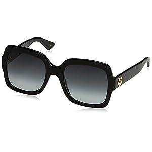 Womens Gucci 54mm Square Sunglasses, 54/22/140, Black / Grey / Black