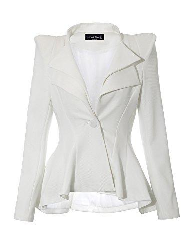 LookbookStore Women's White Double Lapel Flared Peplum Suit Blazer Jacket, US 18