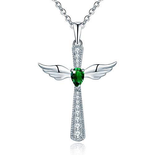 (YL Women's Cross Necklace Sterling Silver Cubic Zirconia Angel Wings Crucifix Pendant Teardrop Created Emerald Criss Jewelry)