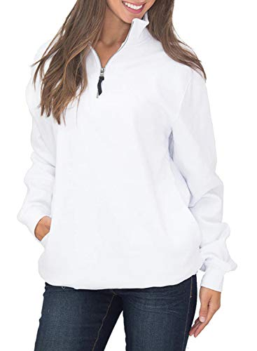 HOTAPEI Women's Sport Baggy Long Sleeve Collar Front Pockets Quarter 1/4 Zip Fleece Pullover Sweatshirts for Women Autumn Outwear Tunic Top Shirts White Large