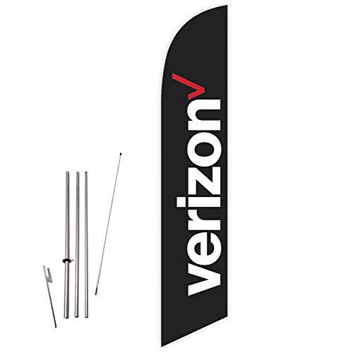 Cobb Promo Verizon (Black) Feather Flag with Complete 15ft Pole kit and Ground Spike