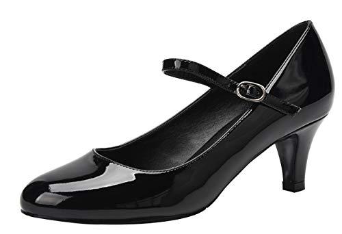 Women's Classic Low Mid Heels Round Toe Vintage Retro Shoes Comfort Pumps Shoes Black Patent PU Size US9.5 EU43