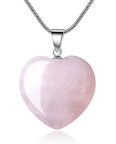 (Sterling Silver Rose Quartz Gemstone Large Heart Pendant Necklace 18 inch Healing Crystals Chakra Stones Women Girls Gifts NK18GP17)
