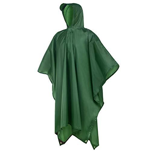 Rain Poncho, Rain Coats for Adults Men Women Hooded, Lightweight Waterproof Multi Use Rain Ponchos for Outdoor Activities - Rain Green Poncho
