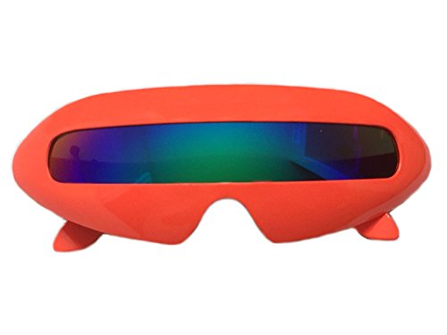 Novelty Womens Sunglasses (Futuristic Cyclops Mirror Single Lens Oval Sunglasses (Neon Orange, Green))
