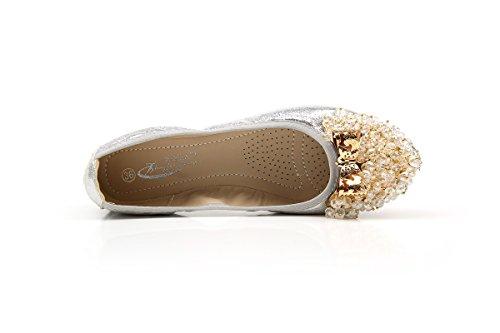 Yiye Femmes Pliable Semelle Souple Perles Escarpins Confortables Été Pumps Chaussures Breathable Beads Handmade Argent D78RSrg