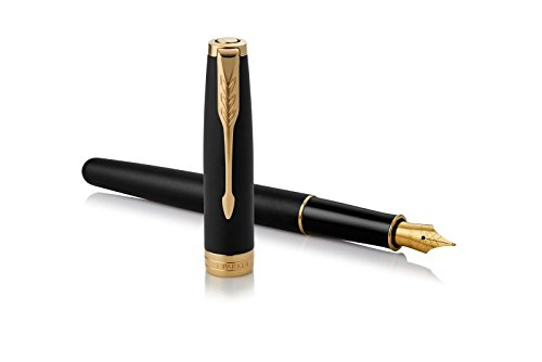(PARKER Sonnet Fountain Pen, Matte Black Lacquer with Gold Trim, Medium Nib)